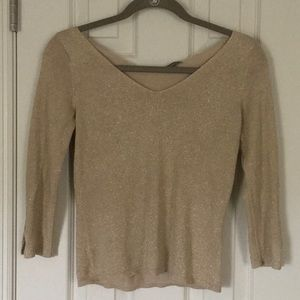 Ann Taylor 3/4 sleeve gold shimmer knit top